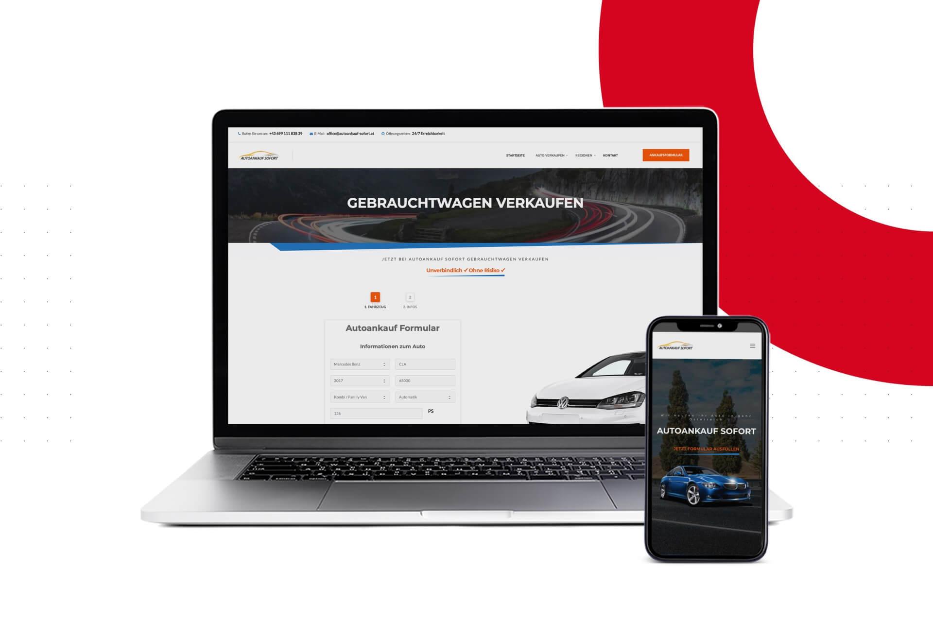 Projekt Autoankauf Sofort Website SEO Google Ads